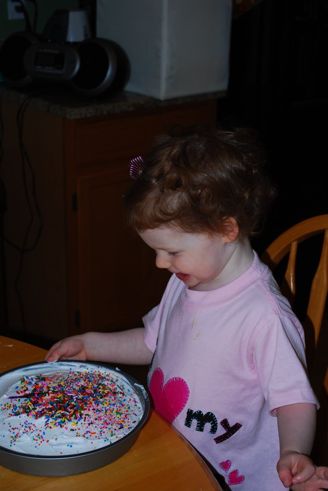 happy with her cake