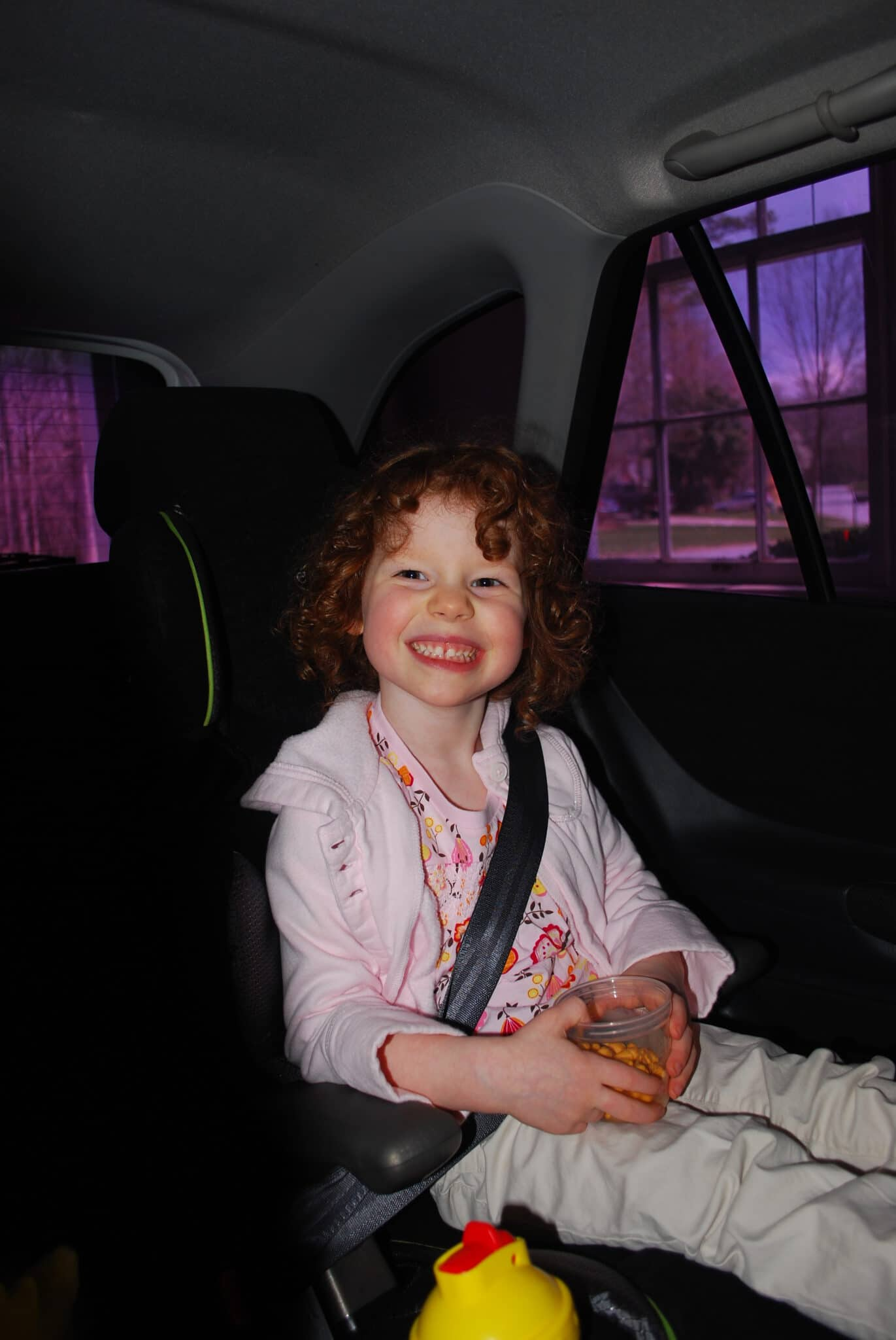 booster in car smiles and snacks