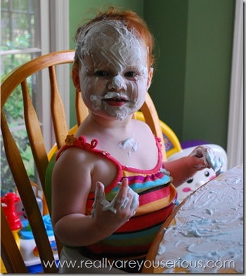 Playing with shave cream