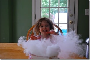 dry ice with water