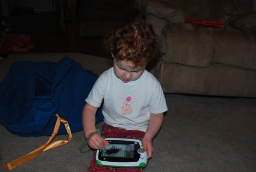 toddler with the leappad