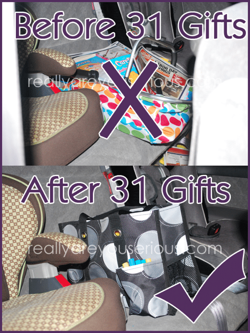 saving my backseat with 31 gifts