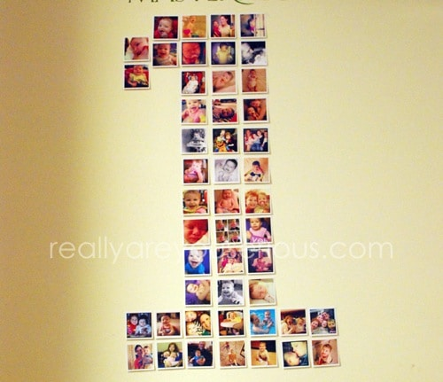 First Birthday Party Decoration with Instagram Pictures in the shape of a ONE