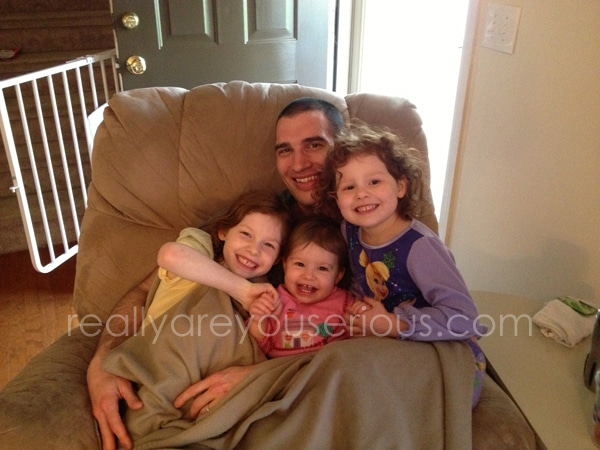 Handsome hubby with the kiddos