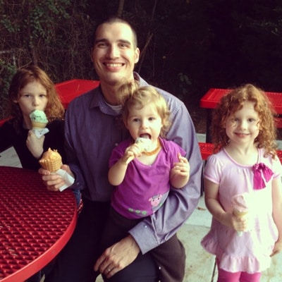 Celebrating ice cream with daddy