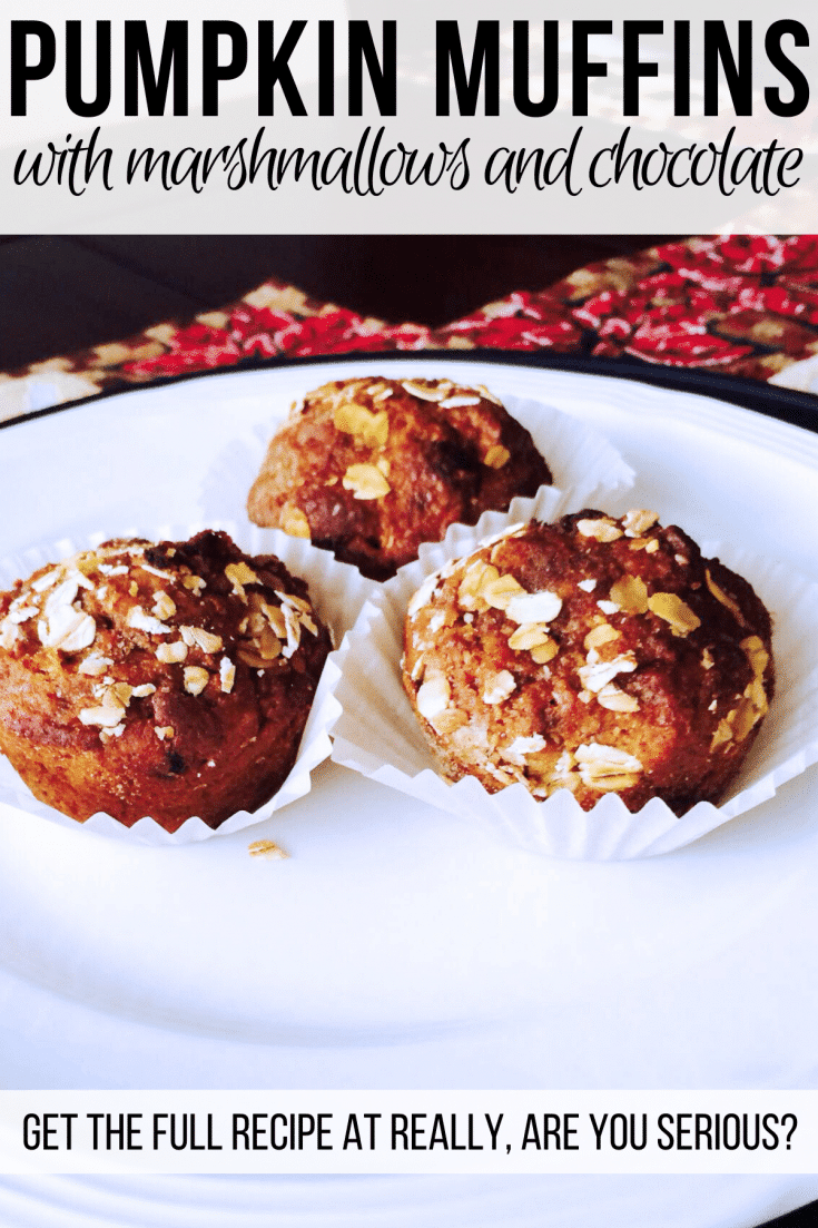 pumpkin muffins with chocolate and marshmallows
