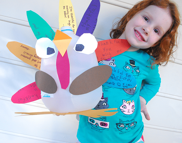 DIY Upcycled Recycled Thankful Turkey Centerpiece Milk Jug Free Printable.png