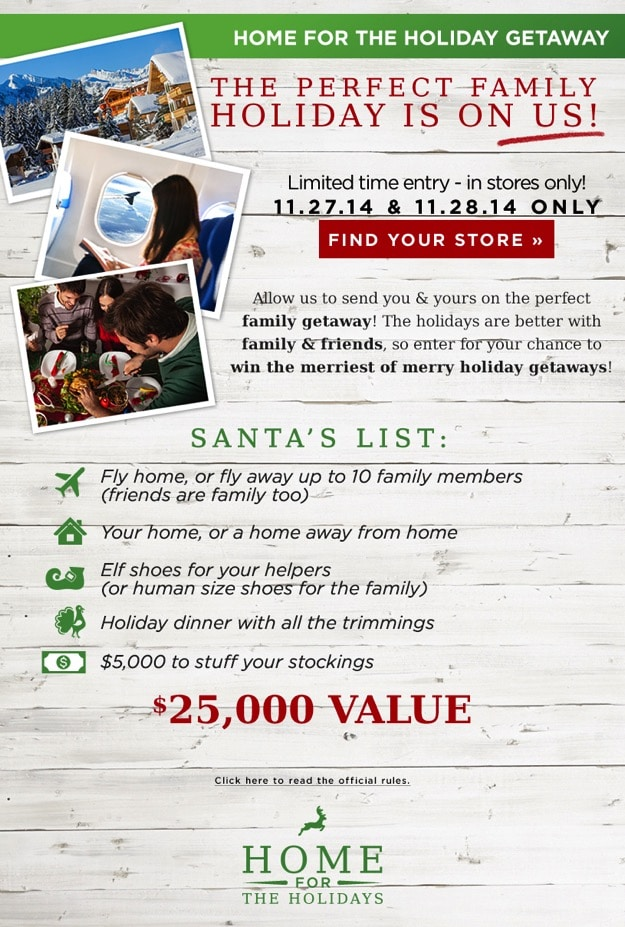 Home For The Holidays Contest at Rack Room Shoes