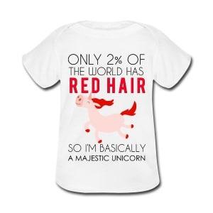 redhead majestic unicorn baby or toddler shirt