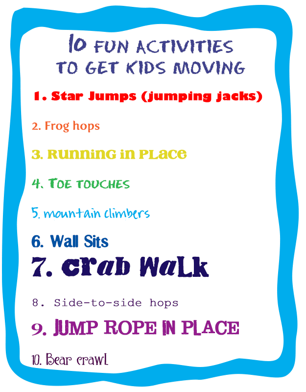 10 fun acticities to get kids moving