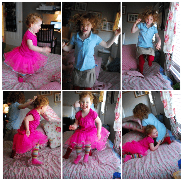 How to Keep Your Kids Active and Moving in the Winter | Jumping on the bed