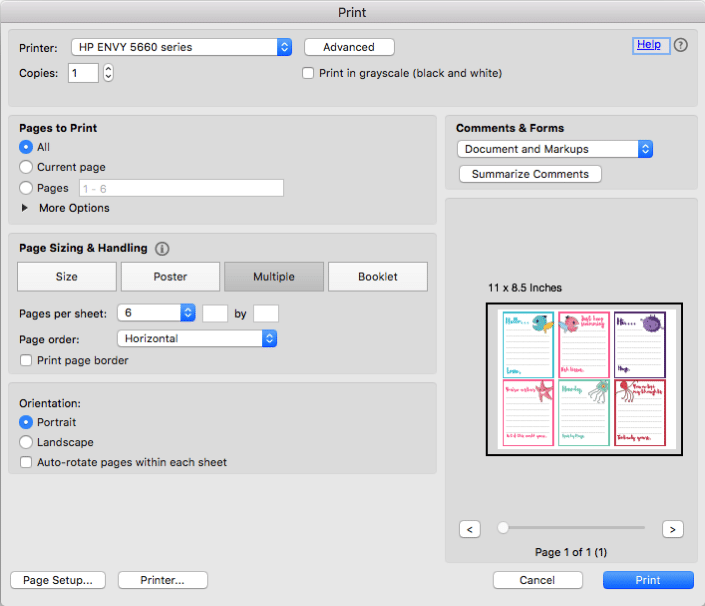 how to print multiple pdfs on one page