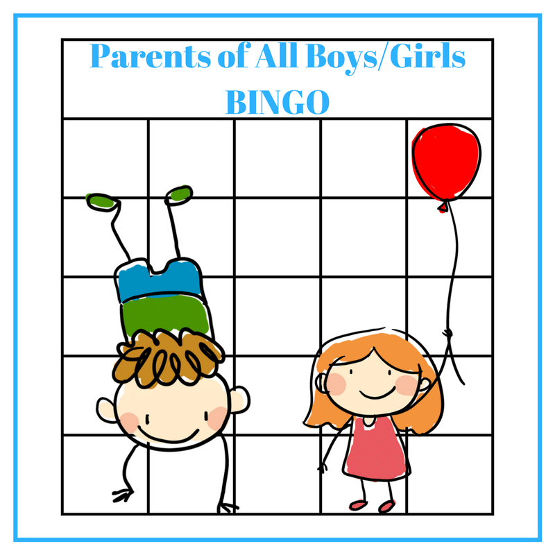 Parents of All Girls or All Boys BINGO
