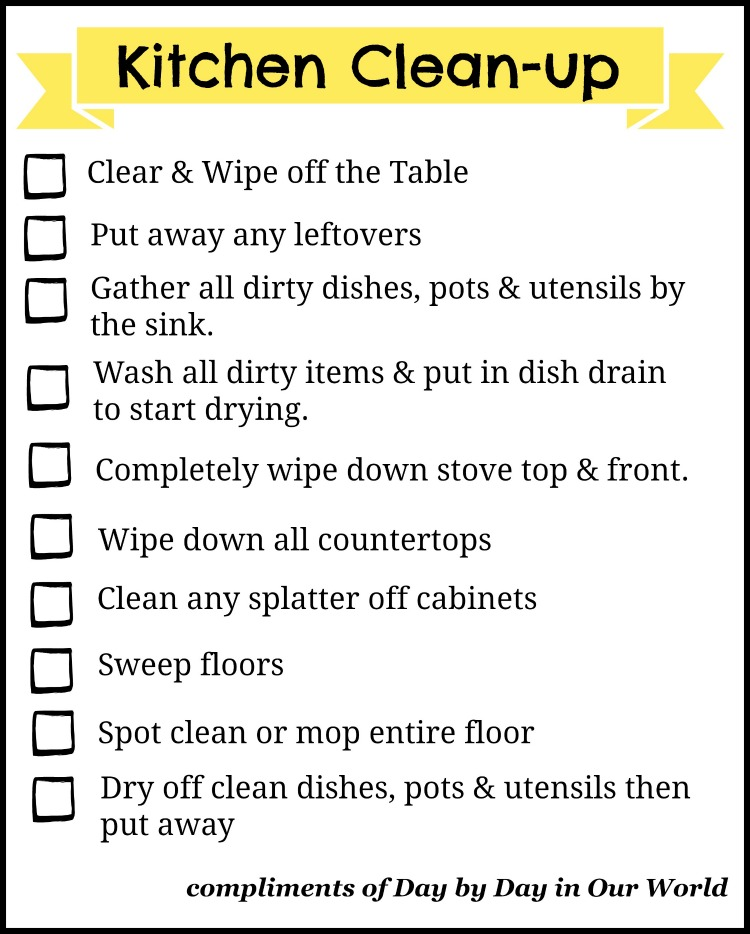 This Kitchen CleanUp Checklist will help you and other family members keep this vital room in your house at the ready PowerfulFusionClean ad