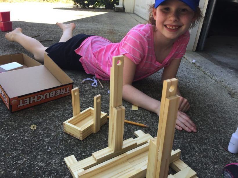 STEM time: Trebuchet building and launching   Mommy and Me Monday   372nd ed