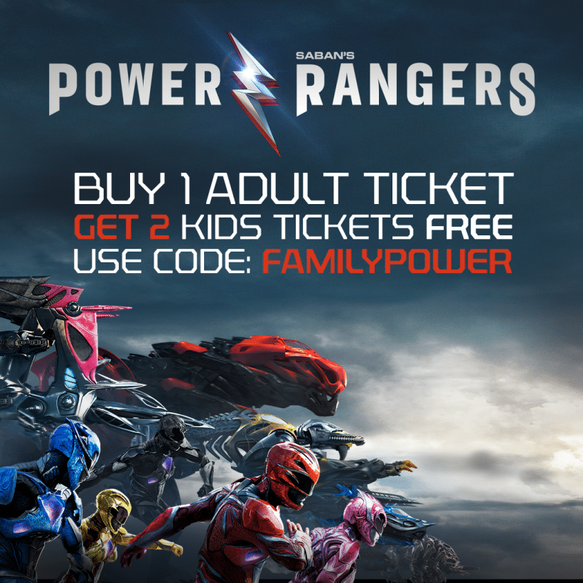 Kids can see Power Rangers free this weekend with adult purchase