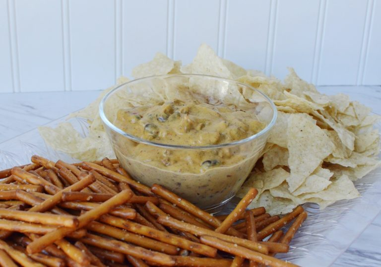 Dairy-Free Chili Cheese Dip with Gluten-Free Pretzels and Chips
