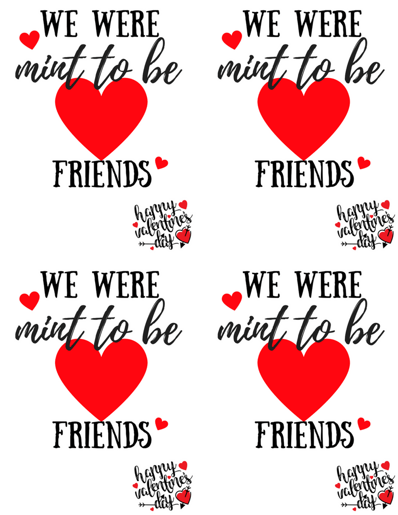 We were mint to be friends valentine four to a page