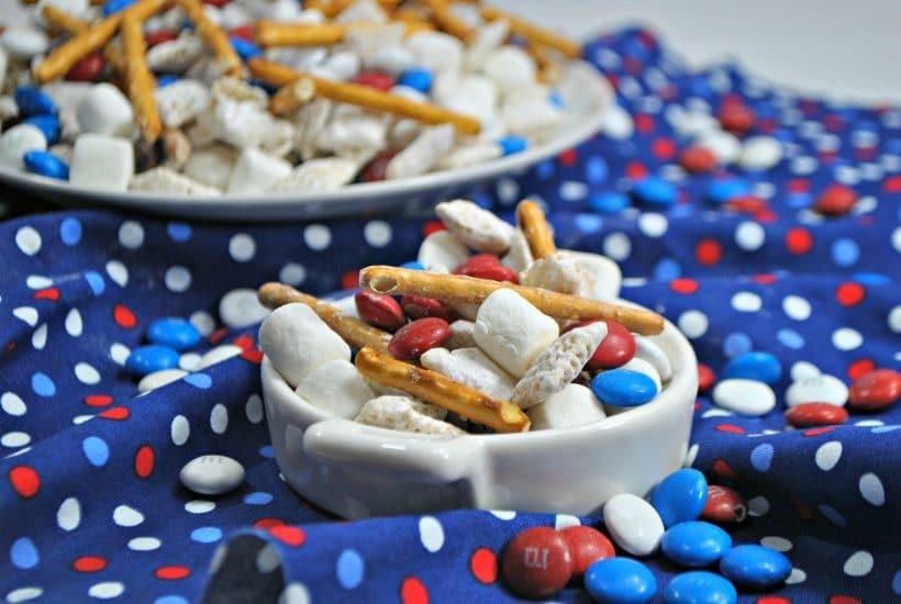 Patriotic Gluten-Free Muddy Buddy Chex Mix