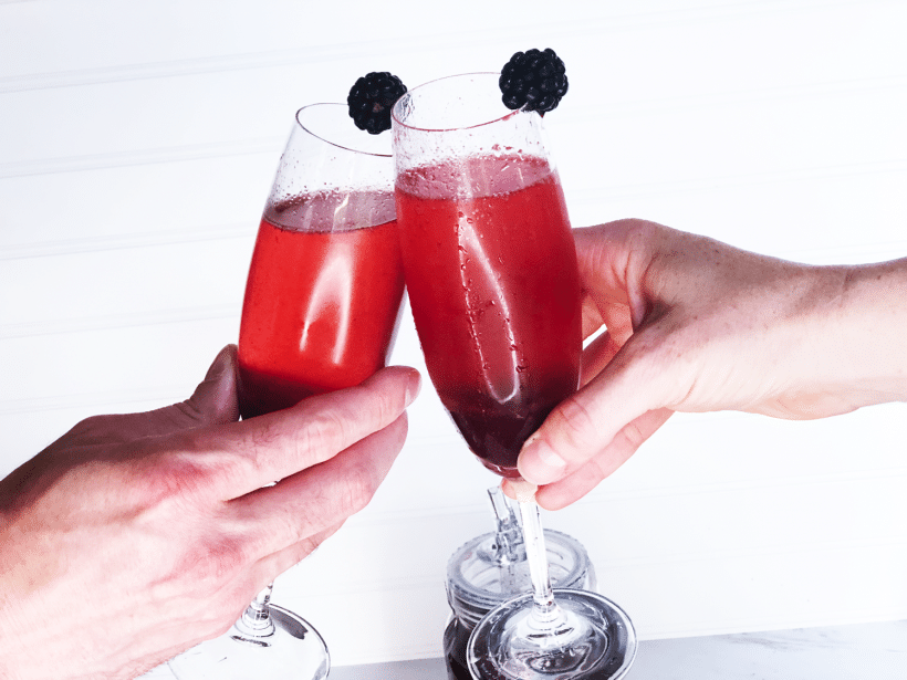 Back Porch Blackberry Kir Royale | A tasty cocktail with Sugarlands Moonshine