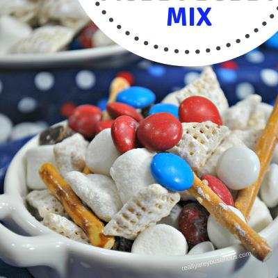 Gluten-free patriotic muddy buddy chex mix