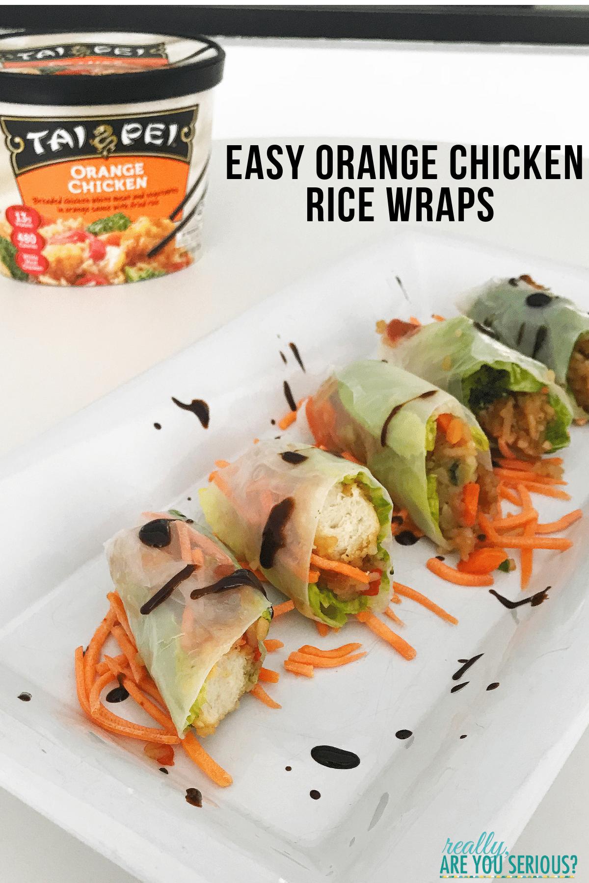 Easy orange chicken rice wraps