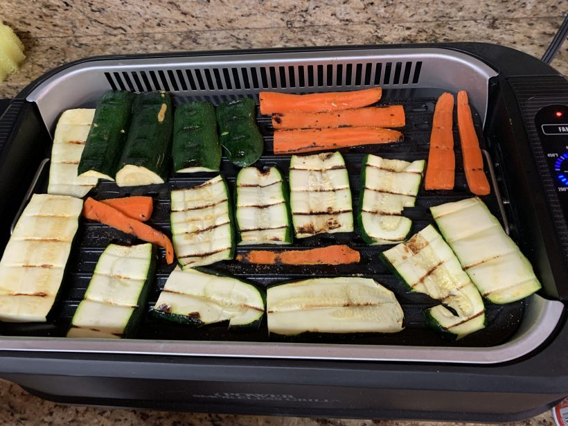 PowerXL Smokeless Grill Family Size with veggies
