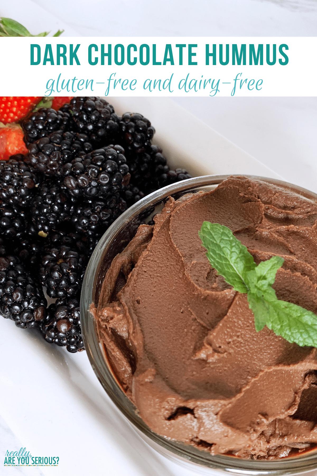 Gluten free and dairy free dark chocolate hummus