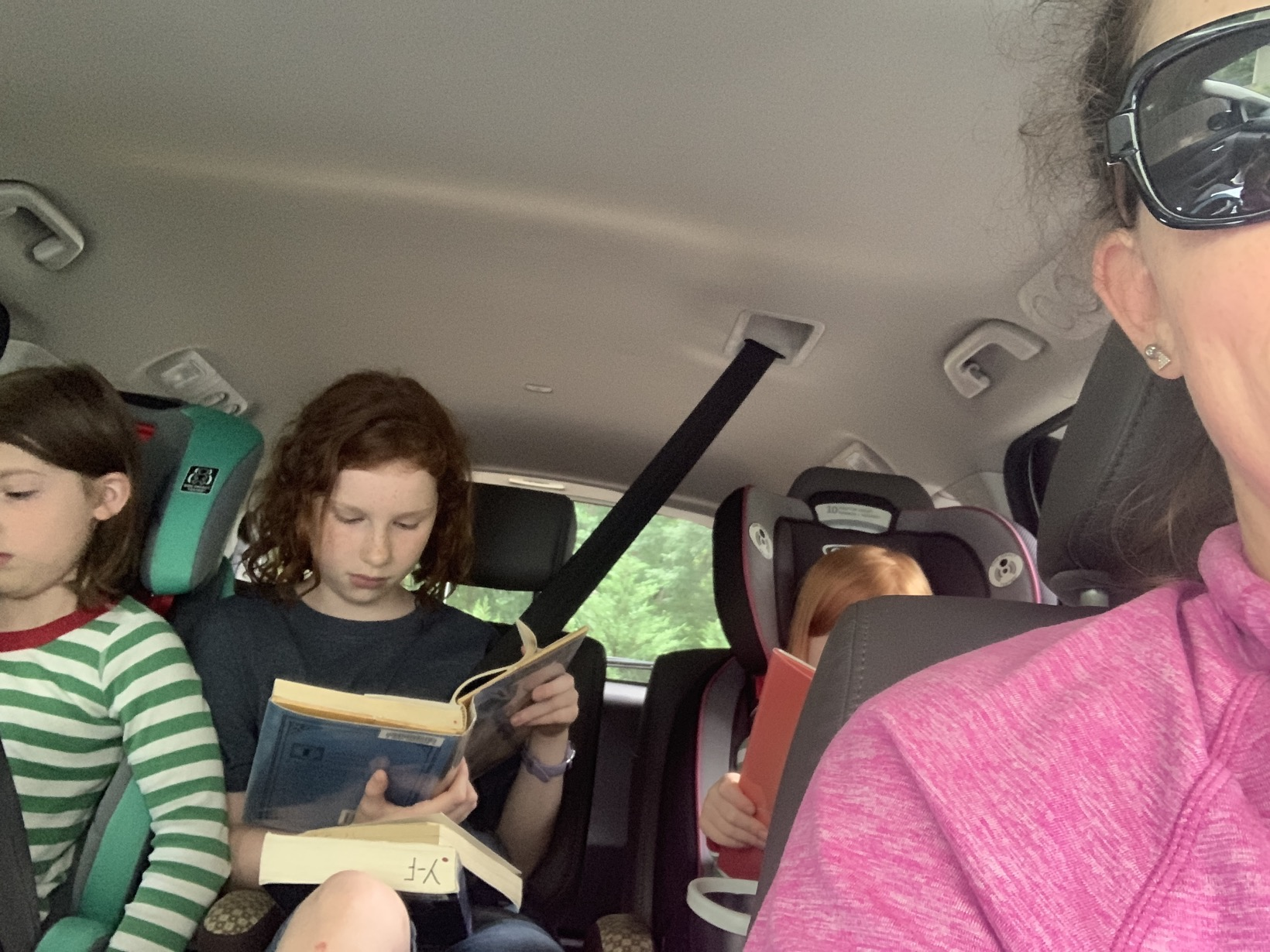 Reading time in the car   Mommy and Me Monday