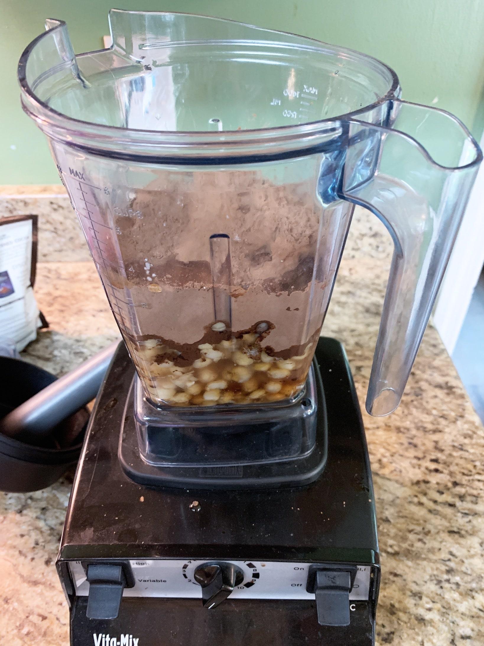 blending dark chocolate dessert hummus recipe in vitamix