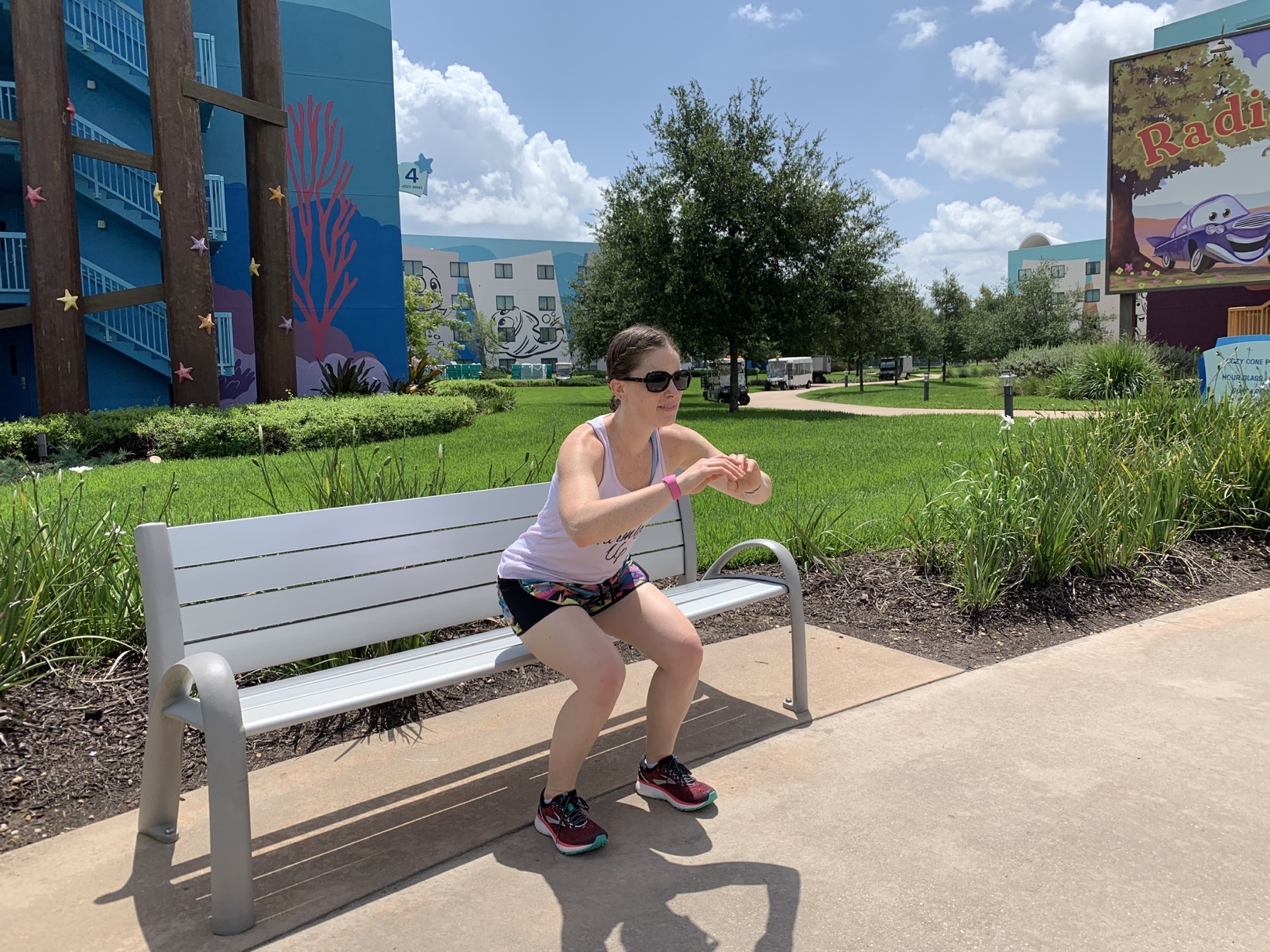 squats on bench at art of animation