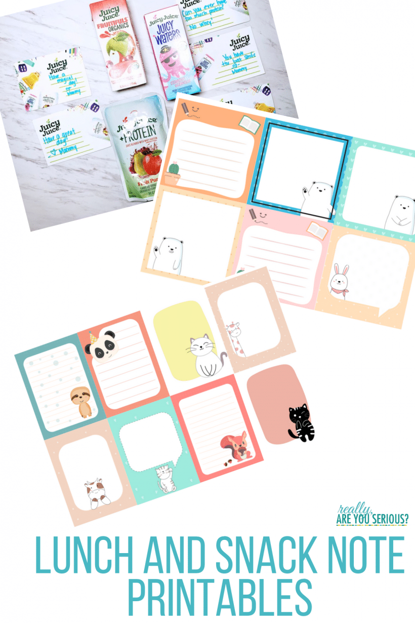 Lunch note and snack note printables your kids will love