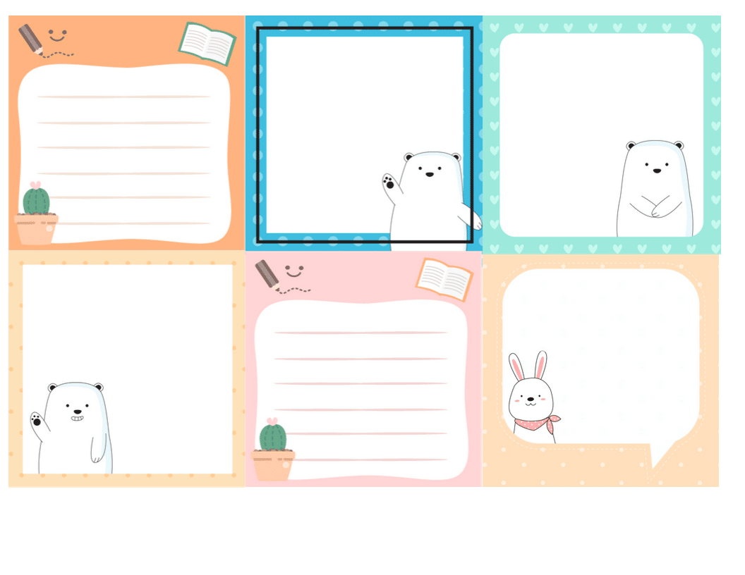 Lunch note free printable square