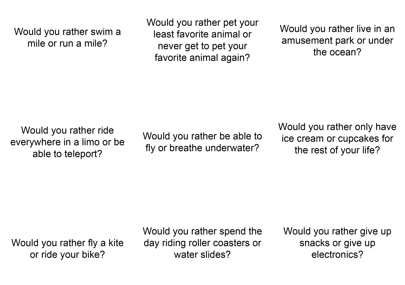 Would you rather 50 questions for kids 1