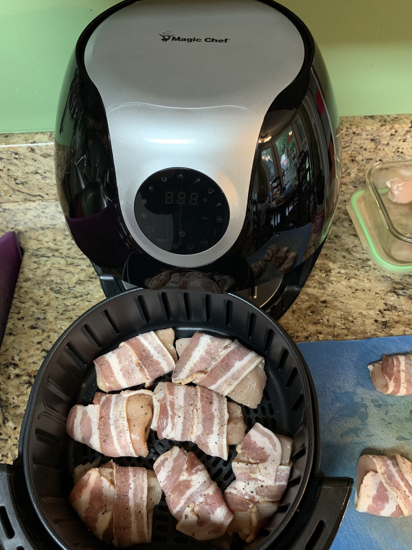 bacon wrapped chicken into the air fryer