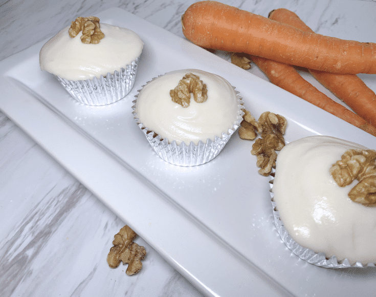 carrot-cake-cupcakes-gluten-free-dairy-free-three-on-a-plate with dairy free cream cheese frosting