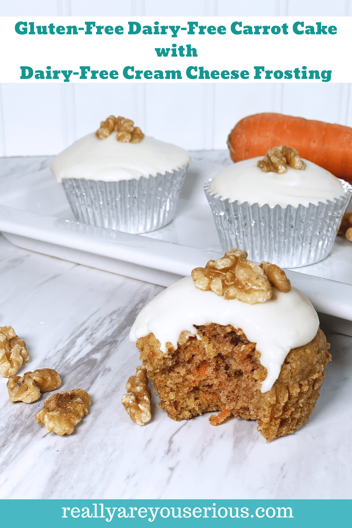 Gluten free dairy free carrot cake cupcake with dairy free cream cheese frosting