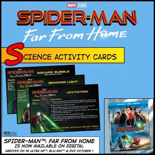 Spiderman far from home science activity cards