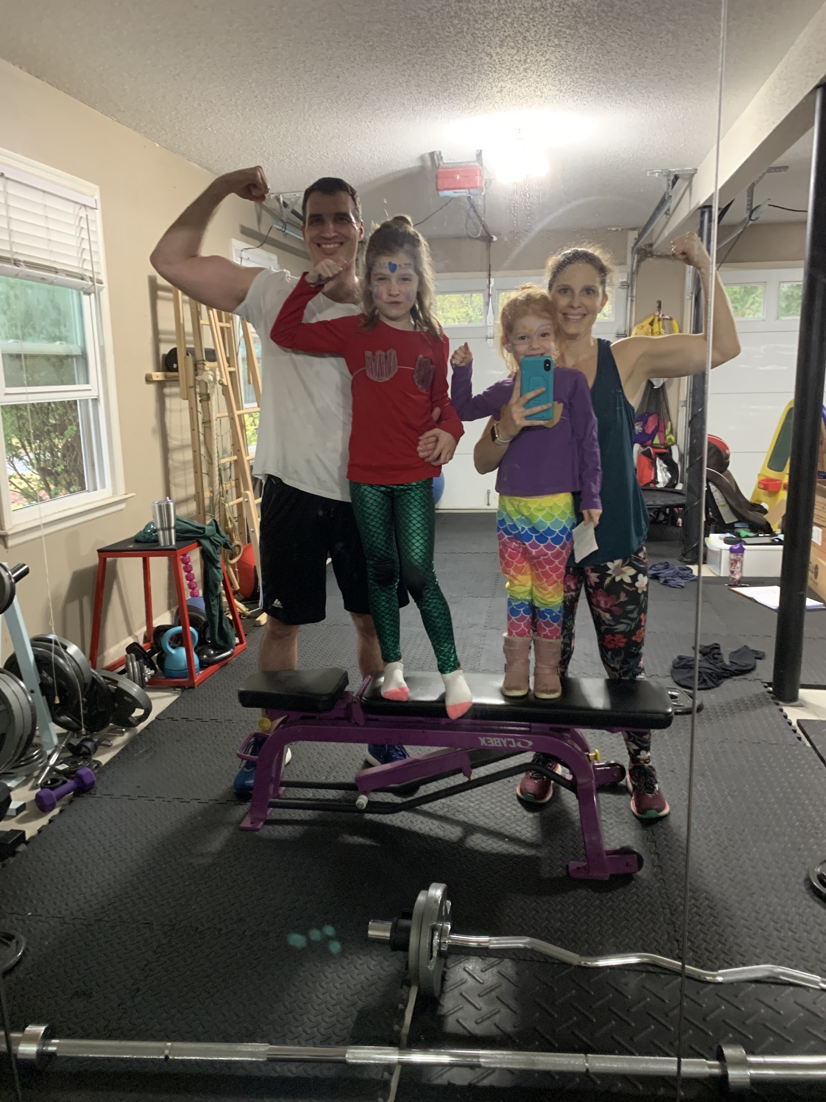 Garage gym with the girls mommy and me monday