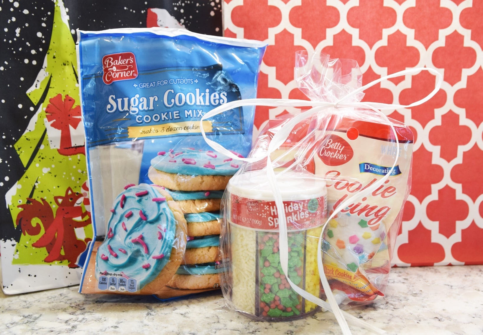 Cookie mix and sprinkles and icing