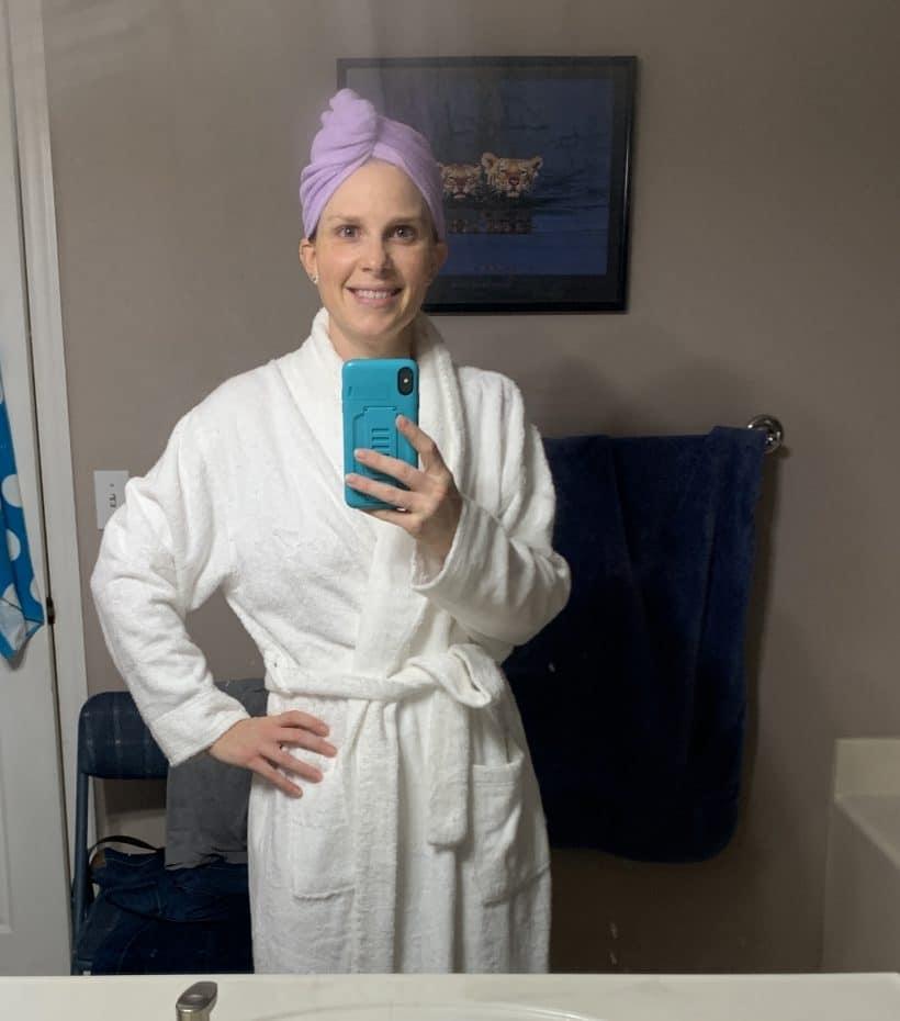 wearing plush robe