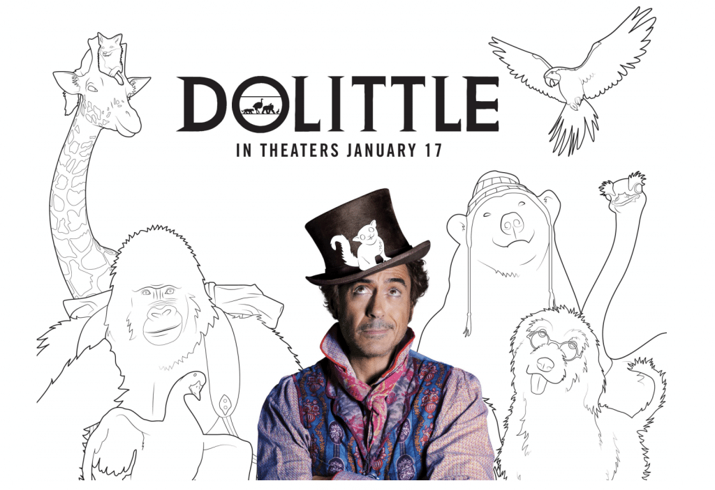 DOLITTLE available for home watching and DOLITTLE coloring sheets + activity sheets