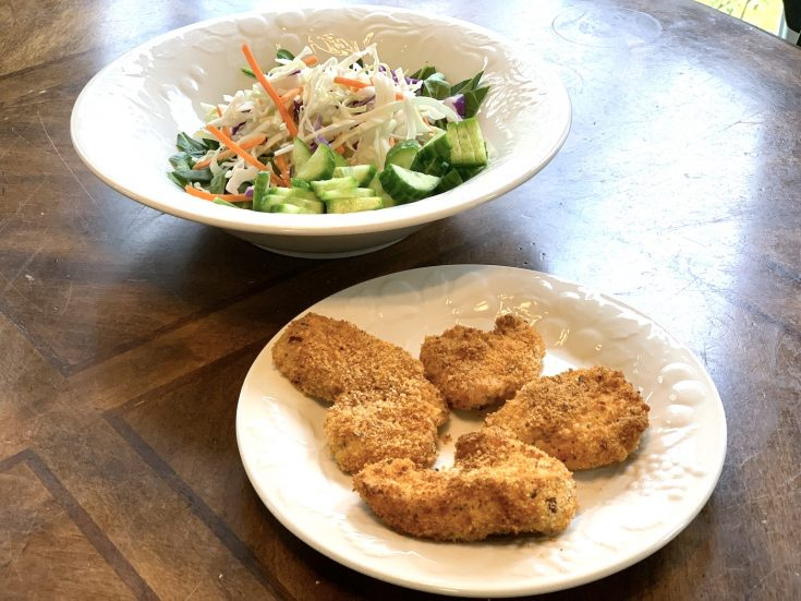 gf chicken tenders from air fryer with salad