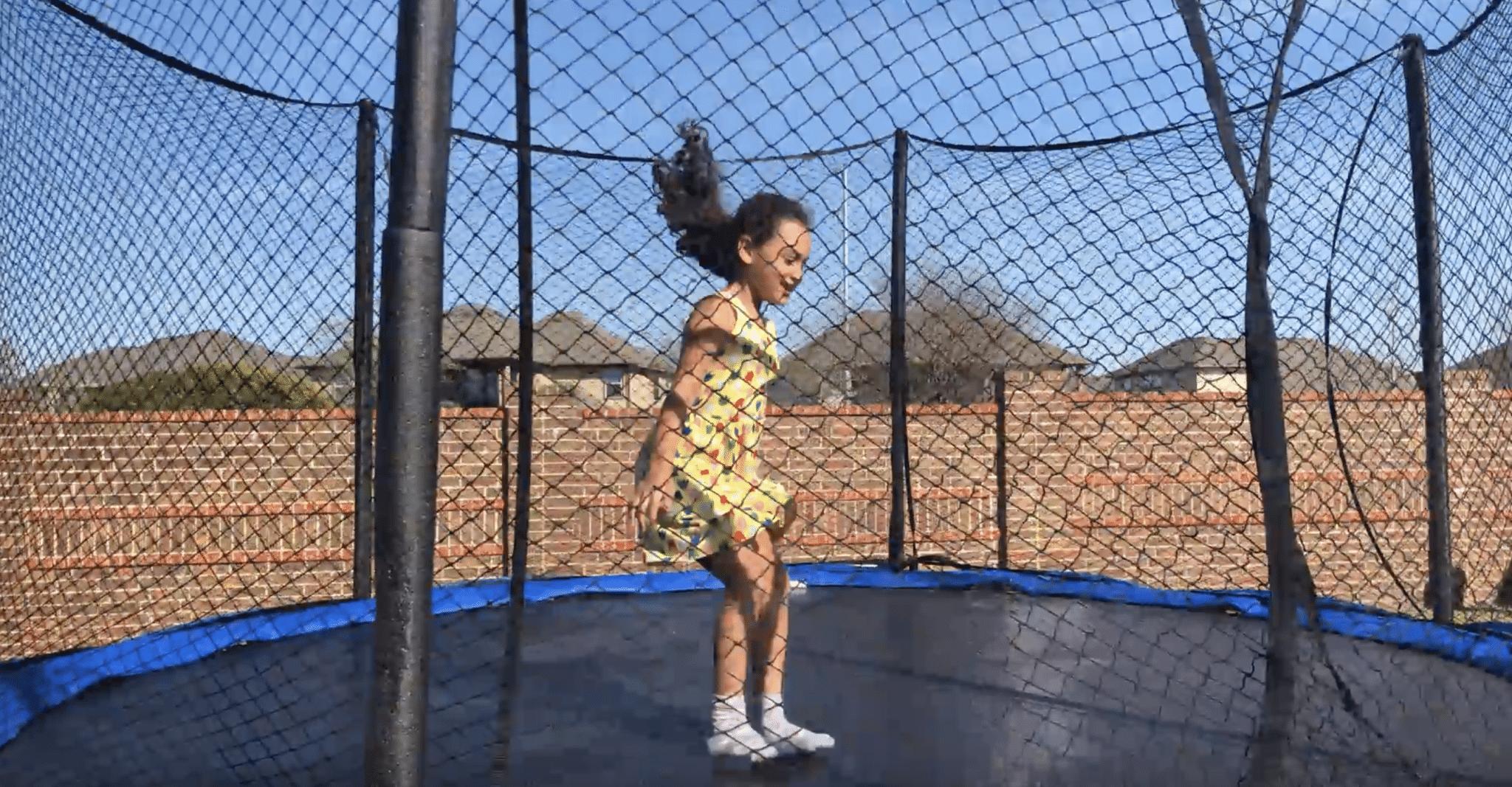 jumping on jumpsport trampoline