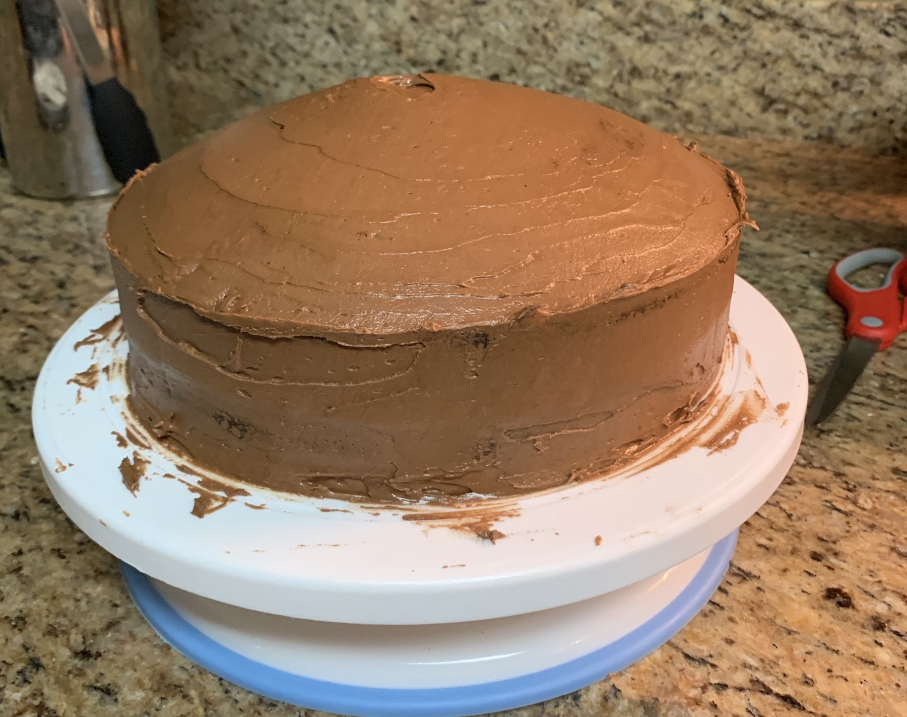 Freshly frosted cake