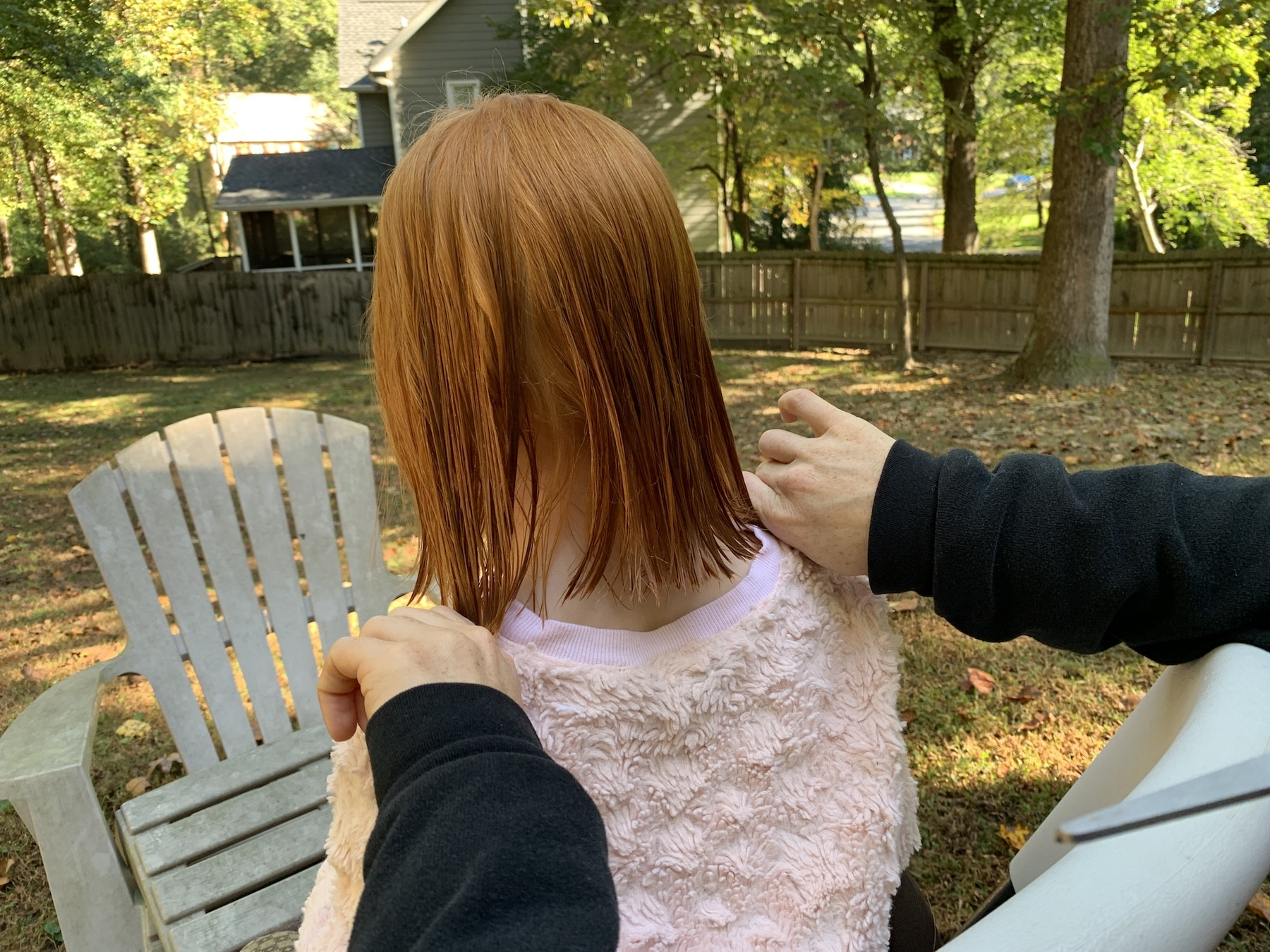 haircut at home with mom