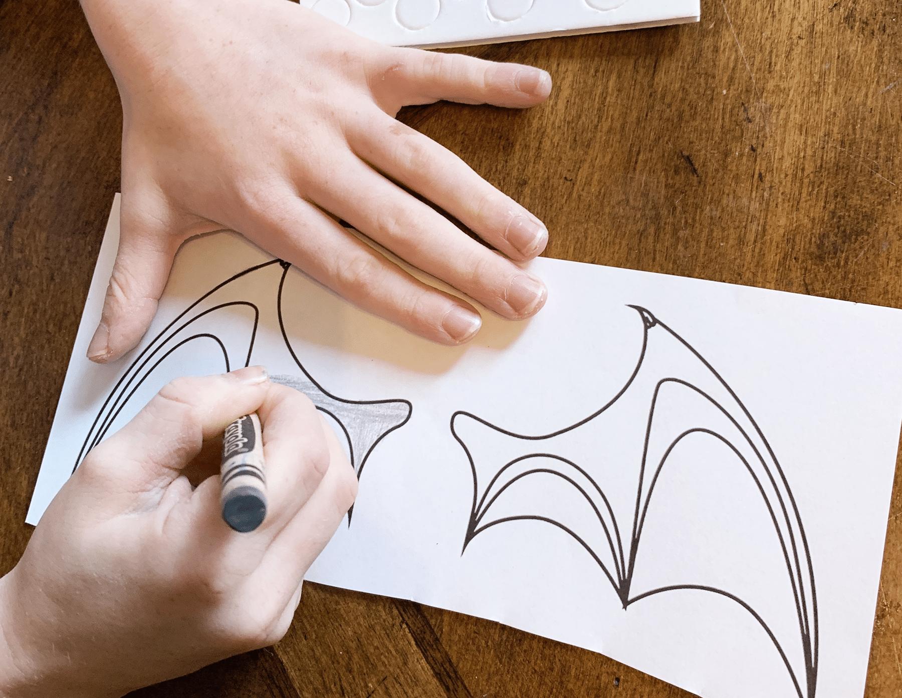 coloring bat wings gray
