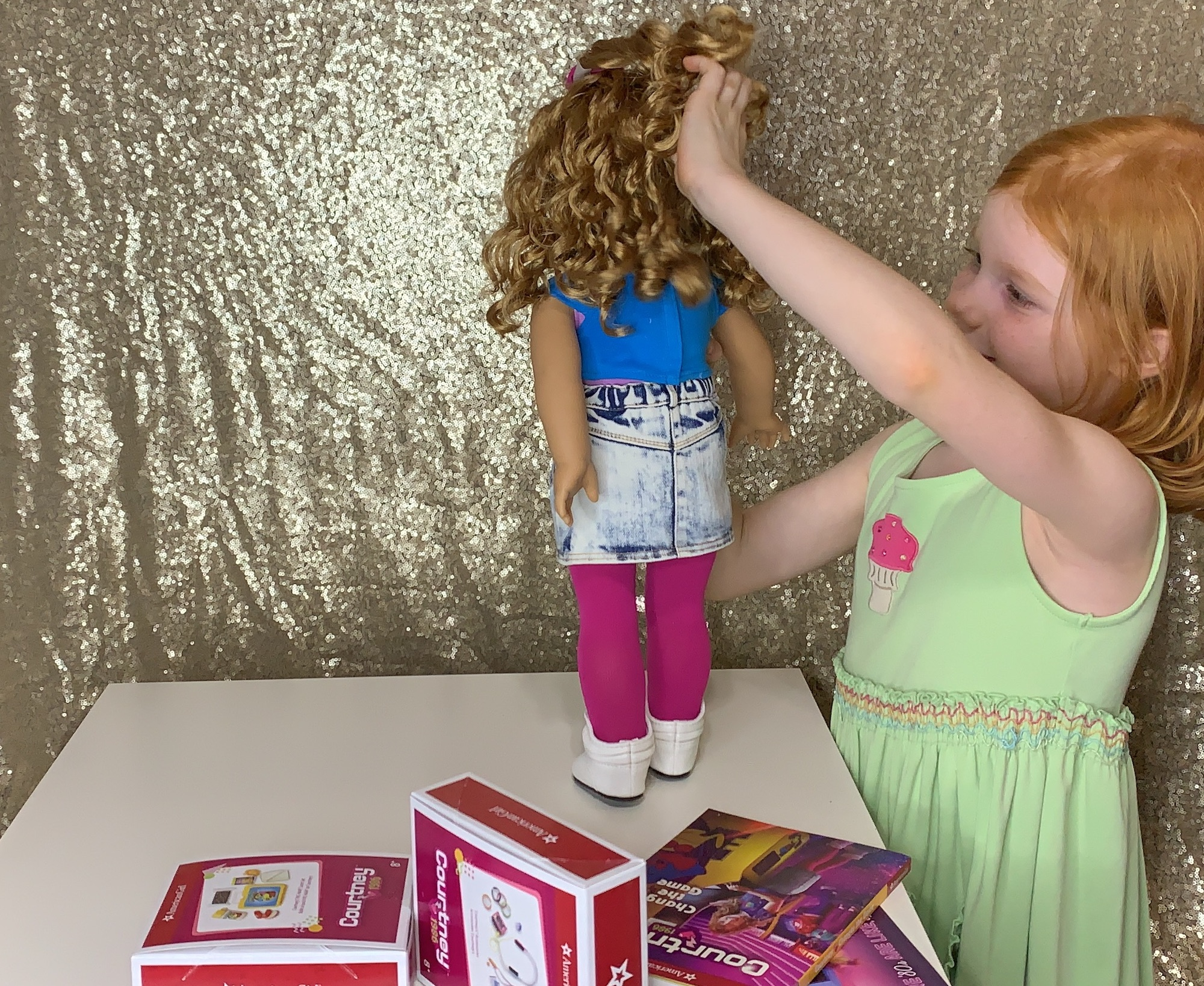 checking out american girl doll courtney's hair