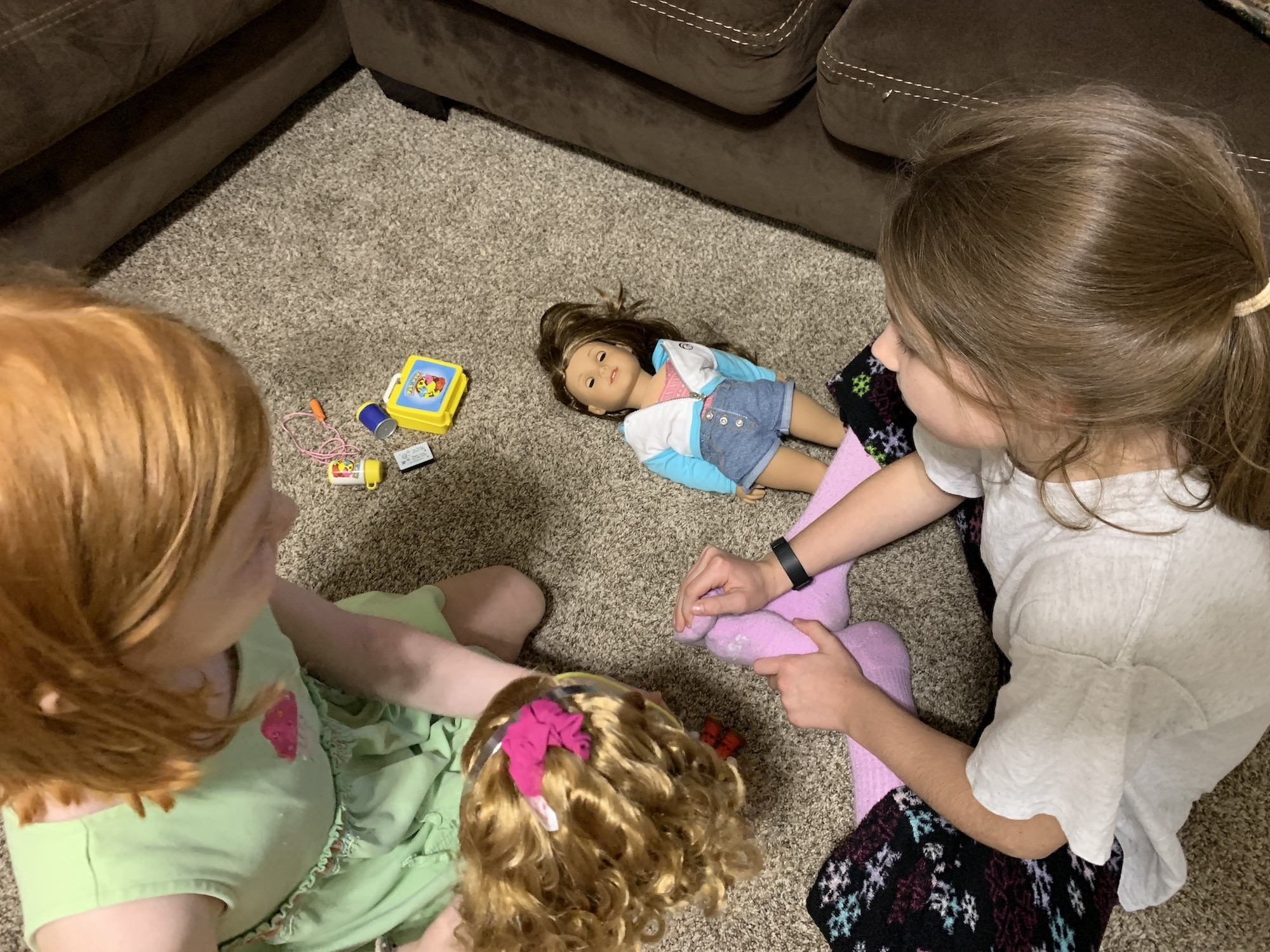 playing with american girl doll courtney