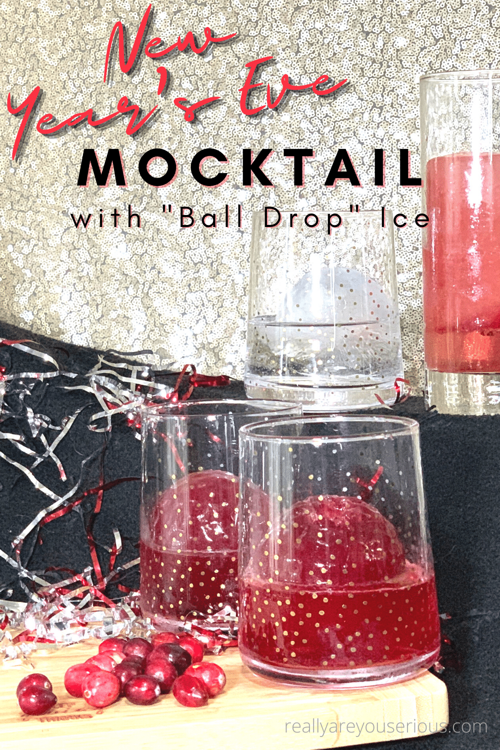 New Year's Eve Mocktail with Ball Drop Ice